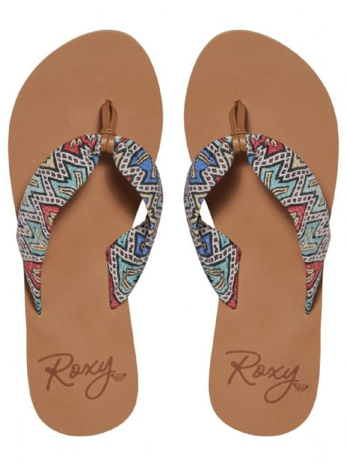 ROXY WOMENS FLIP FLOPS.NEW PAIA SOFT TEXTILE MULTI THONGS SANDALS 7S/561/MUL